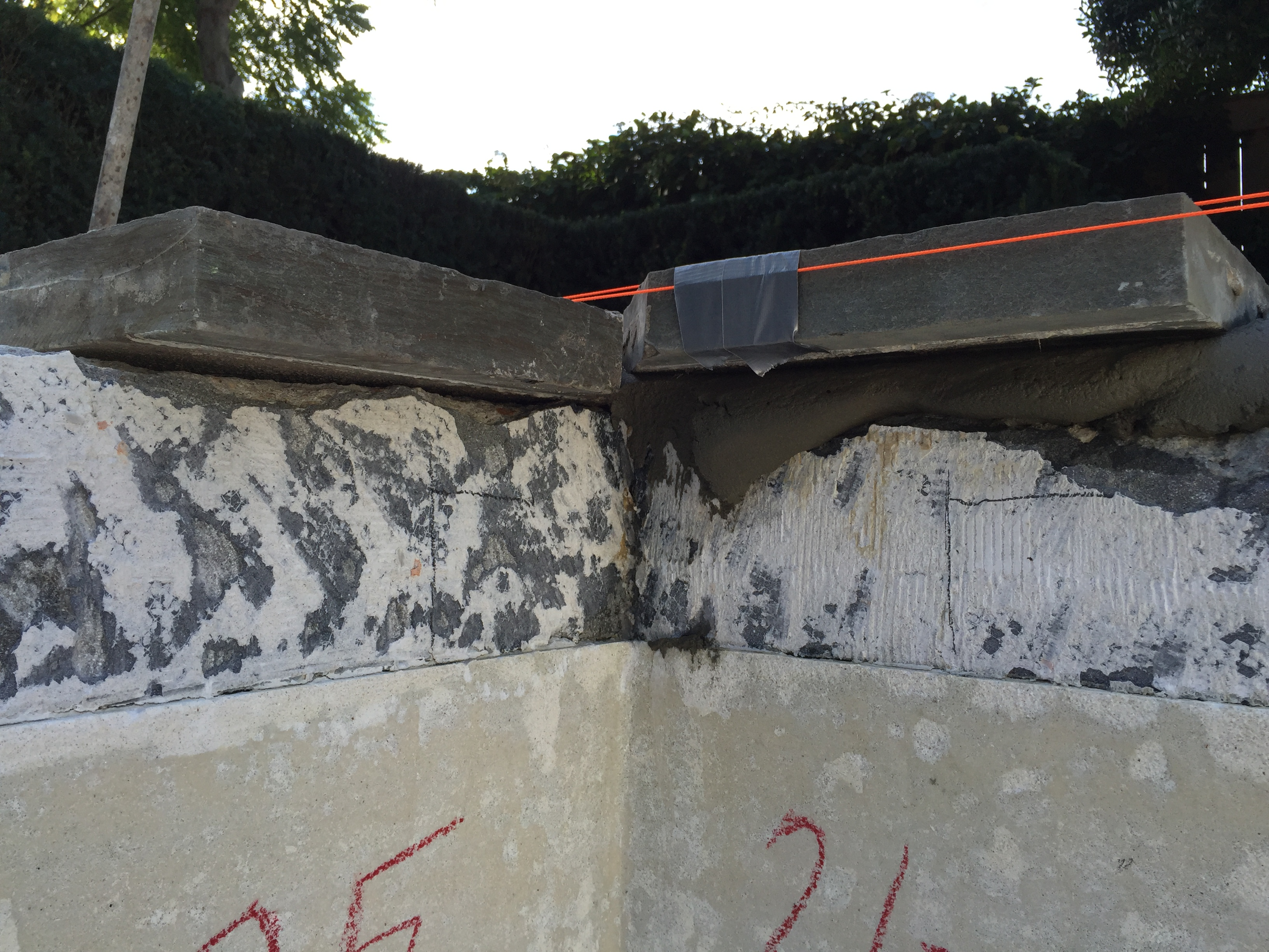 Resetting Blue Stone Coping